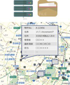 物件や資産の地図上での管理イメージ